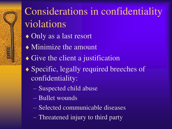 Considerations in confidentiality violations