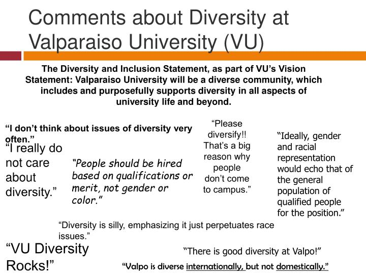 Comments about diversity at valparaiso university vu
