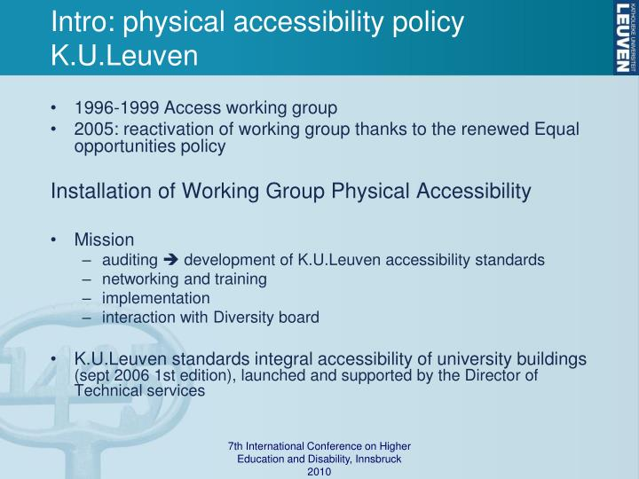 Intro: physical accessibility policy K.U.Leuven