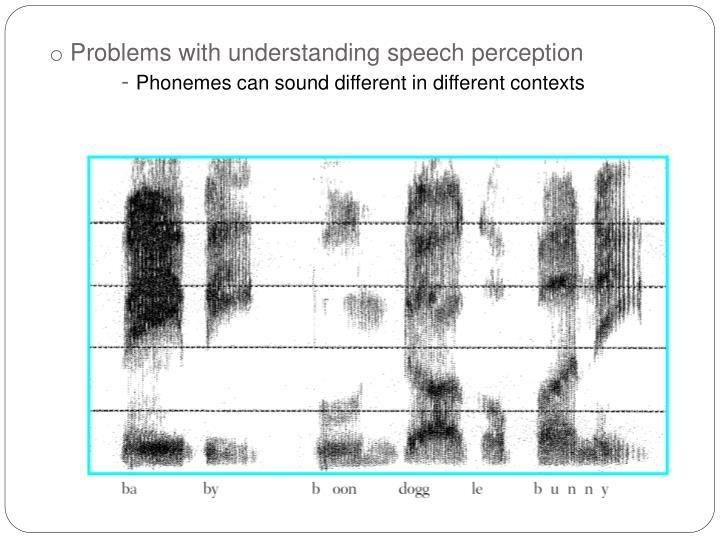 Problems with understanding speech perception