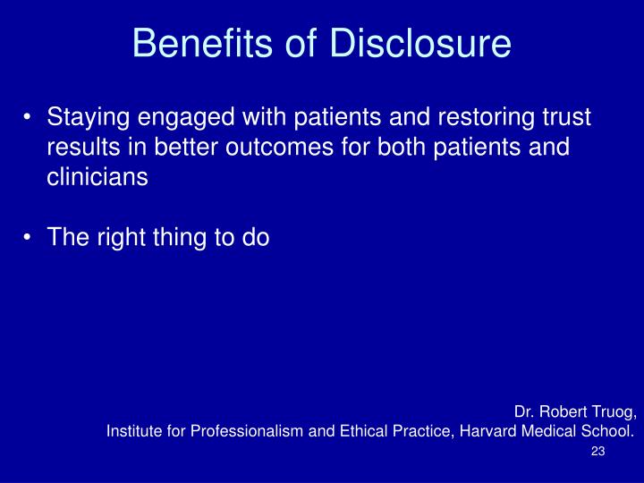 Benefits of Disclosure
