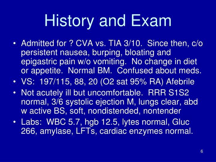 History and Exam