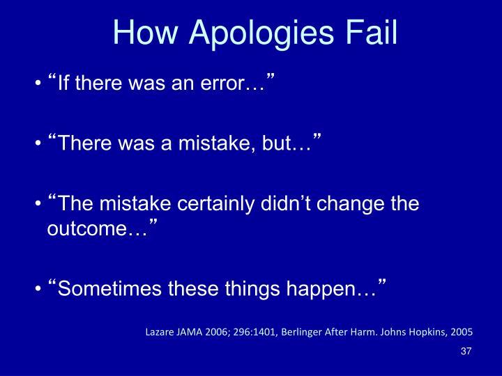 How Apologies Fail