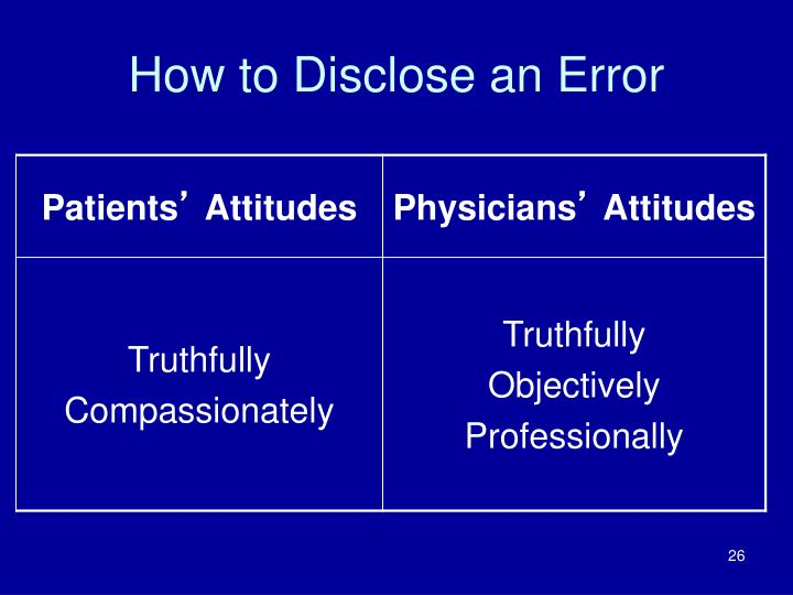 How to Disclose an Error