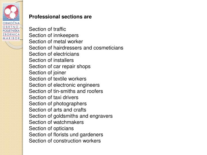 Professional sections are