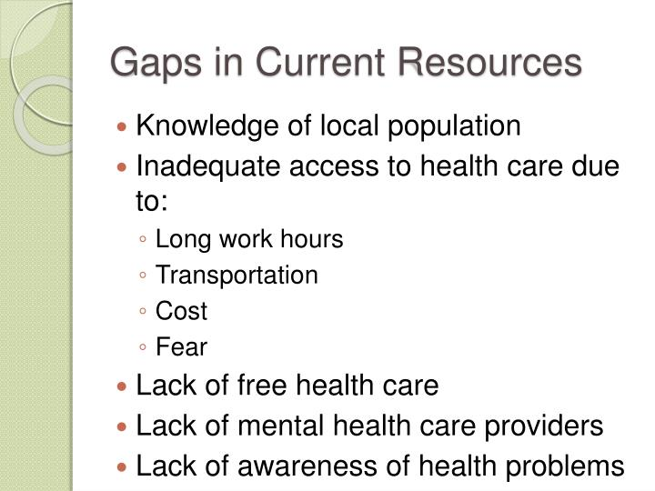 Gaps in Current Resources
