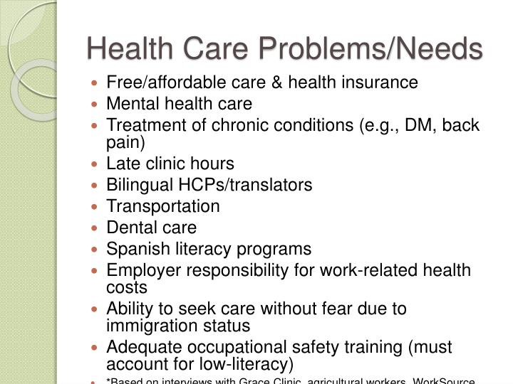 Health Care Problems/Needs