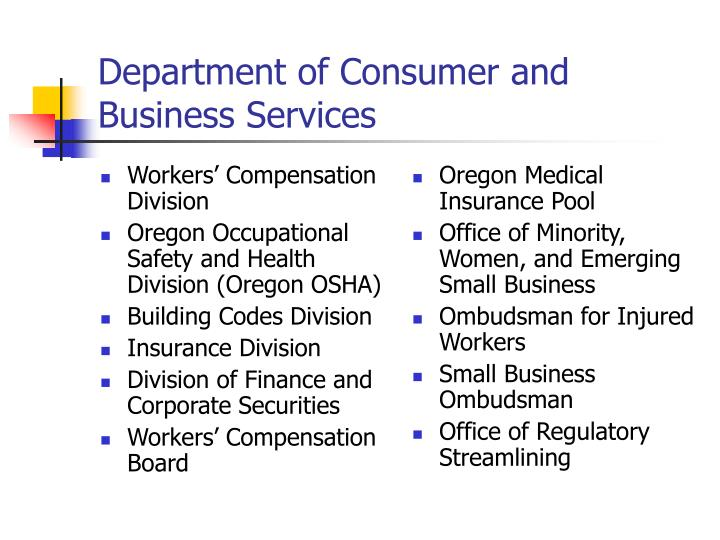 Department of consumer and business services