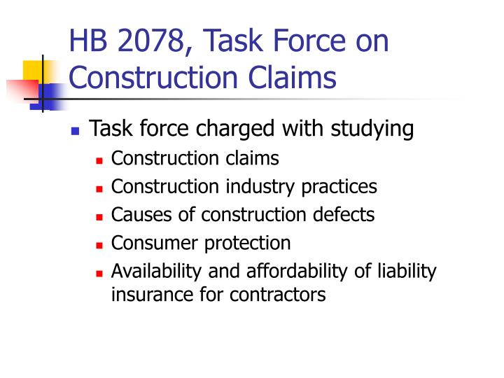 HB 2078, Task Force on Construction Claims