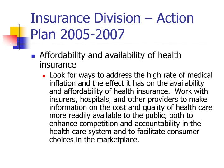 Insurance division action plan 2005 2007