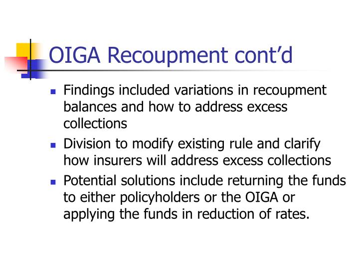 OIGA Recoupment cont'd