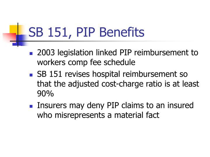 SB 151, PIP Benefits