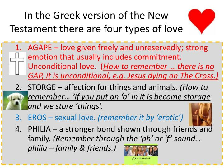 In the Greek version of the New Testament there are four types of love