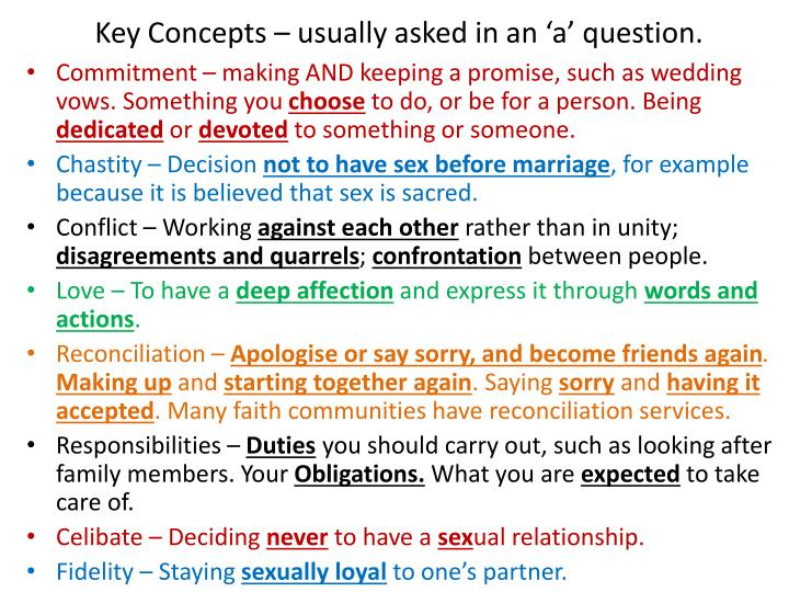 Key Concepts – usually asked in an 'a' question.