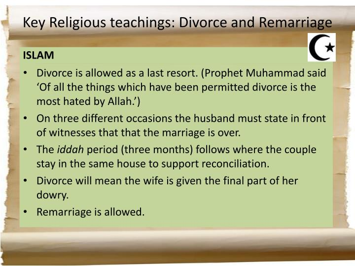 Key Religious teachings: Divorce and Remarriage