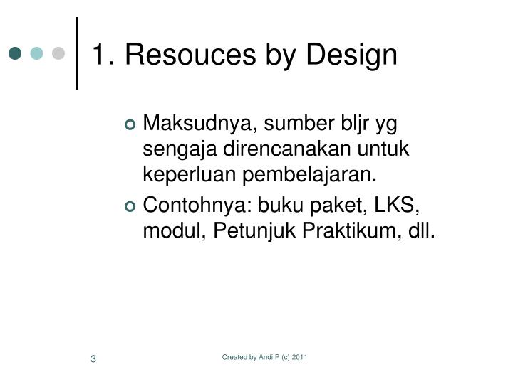 1. Resouces by Design