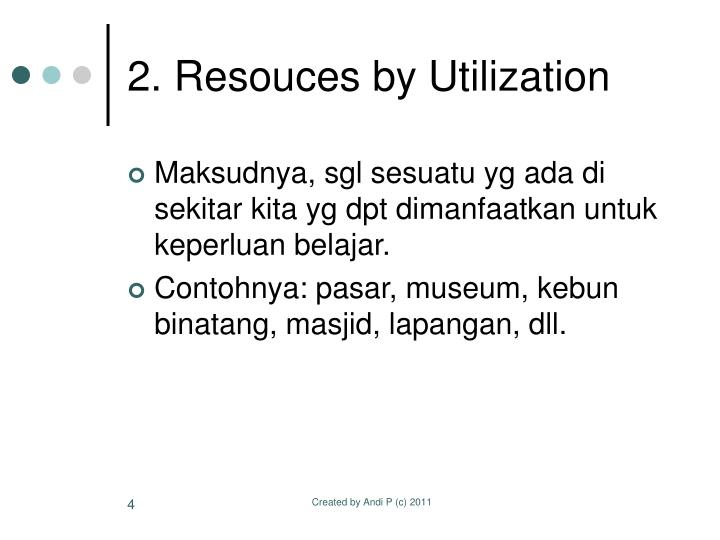 2. Resouces by Utilization