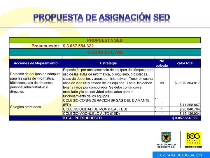 PROPUESTA DE ASIGNACIÓN SED