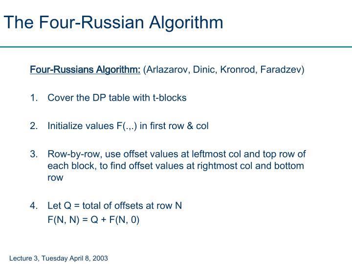 The Four-Russian Algorithm