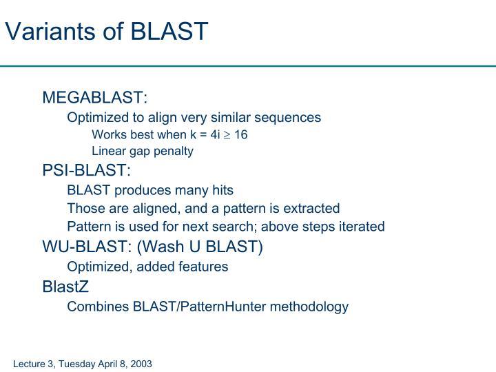 Variants of BLAST