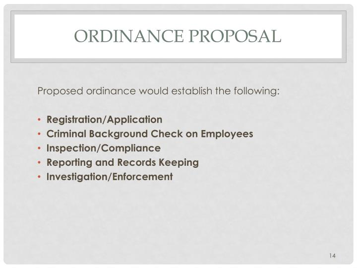 Ordinance Proposal