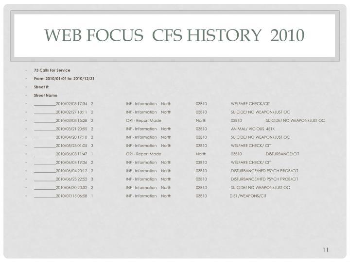 Web Focus  CFS History  2010
