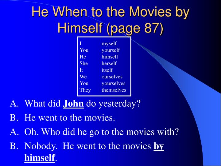 He When to the Movies by Himself (page 87)