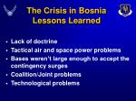 the crisis in bosnia lessons learned
