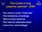 the crisis in iraq lessons learned onw