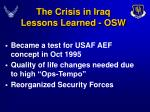 the crisis in iraq lessons learned osw