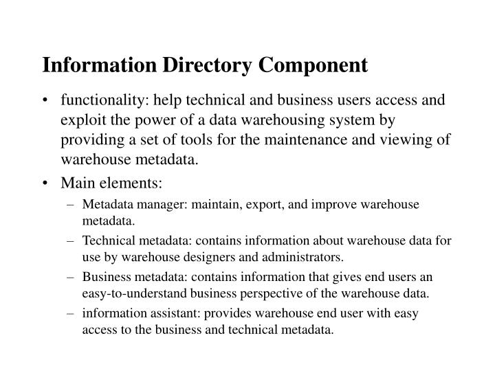 Information Directory Component