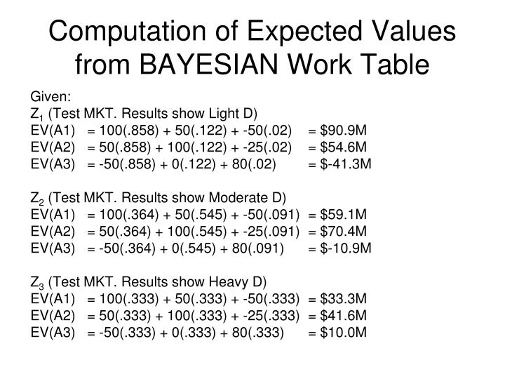 Computation of Expected Values from BAYESIAN Work Table