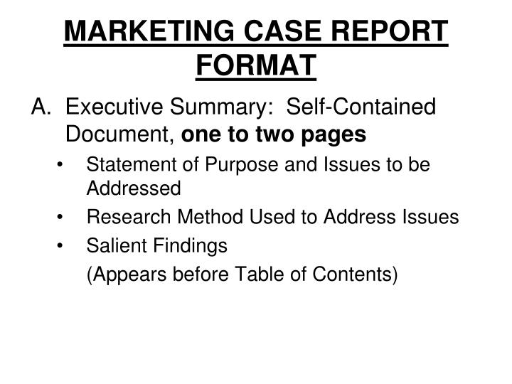 Marketing case report format