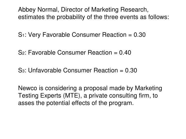 Abbey Normal, Director of Marketing Research, estimates the probability of the three events as follows: