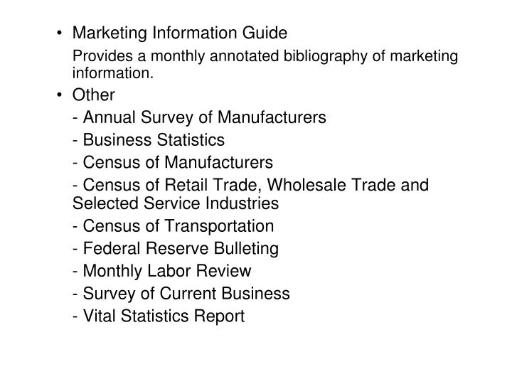 Marketing Information Guide