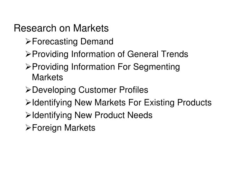 Research on Markets