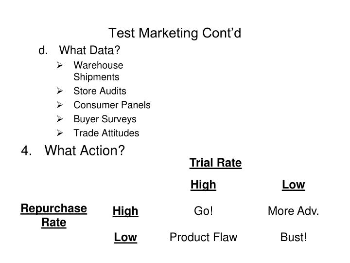 Test Marketing Cont'd
