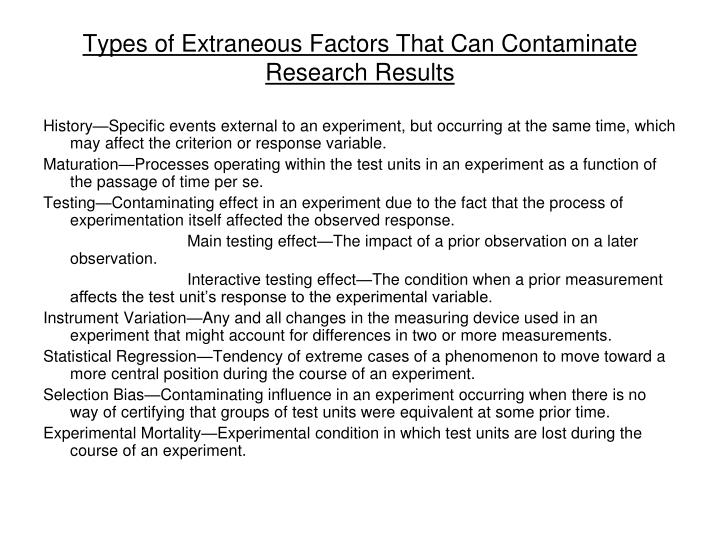 Types of Extraneous Factors That Can Contaminate Research Results