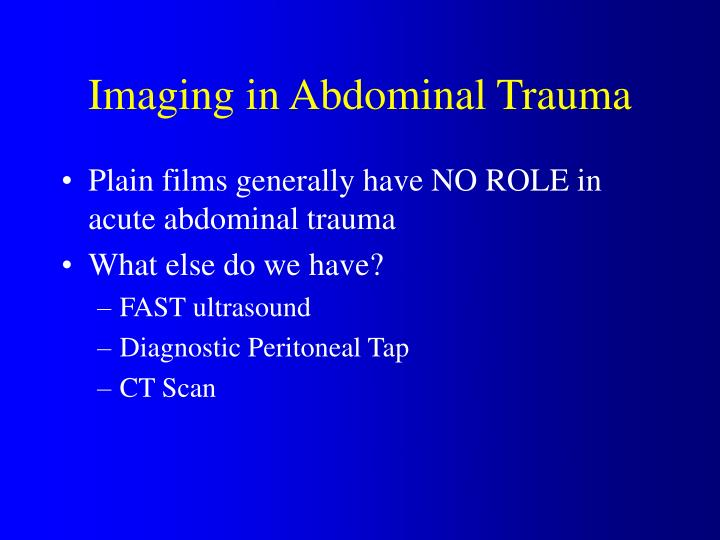 Imaging in Abdominal Trauma