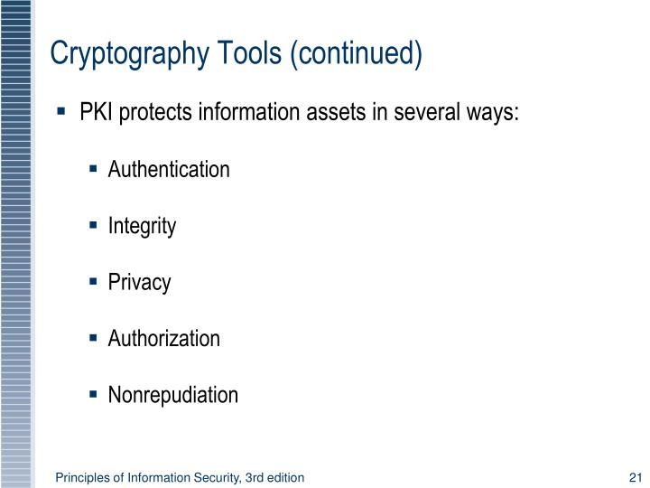 Cryptography Tools (continued)