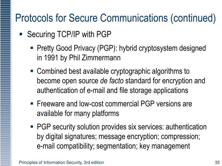 Protocols for Secure Communications (continued)