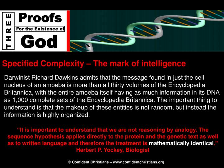 Specified Complexity – The mark of intelligence