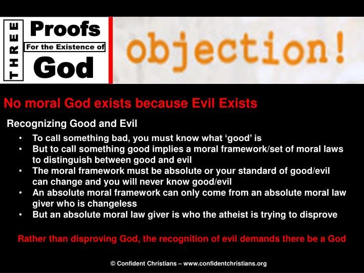 No moral God exists because Evil Exists