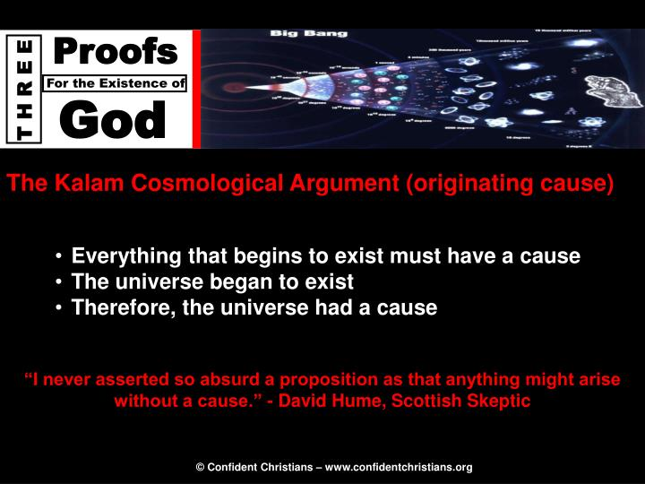 The Kalam Cosmological Argument (originating cause)