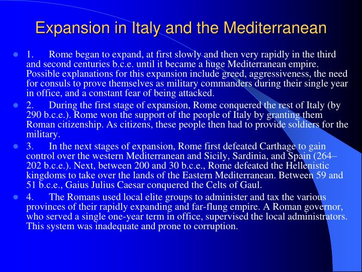 Expansion in Italy and the Mediterranean