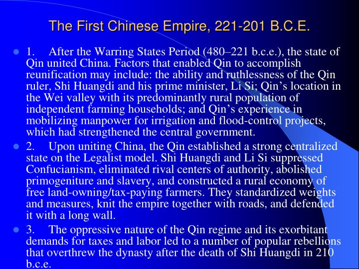 The First Chinese Empire, 221-201 B.C.E.