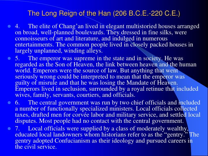 The Long Reign of the Han (206 B.C.E.-220 C.E.)