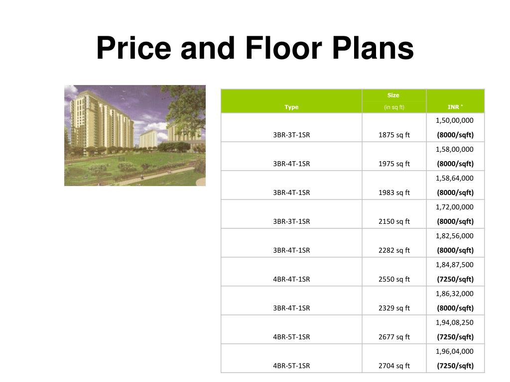 Price and Floor Plans