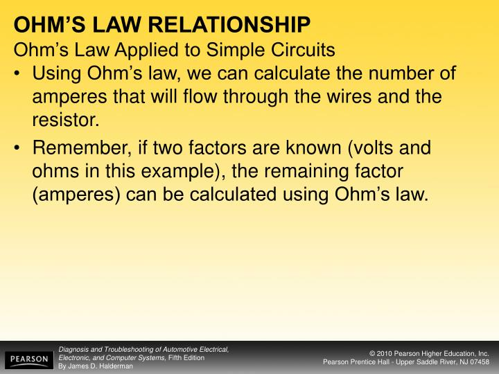 OHM'S LAW RELATIONSHIP