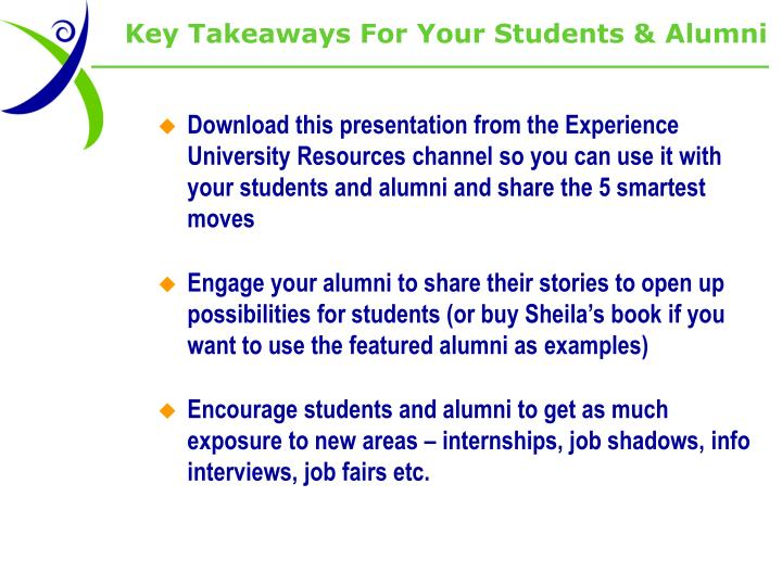 Key Takeaways For Your Students & Alumni